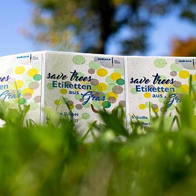 Wiese mit Etiketten aus Gras
